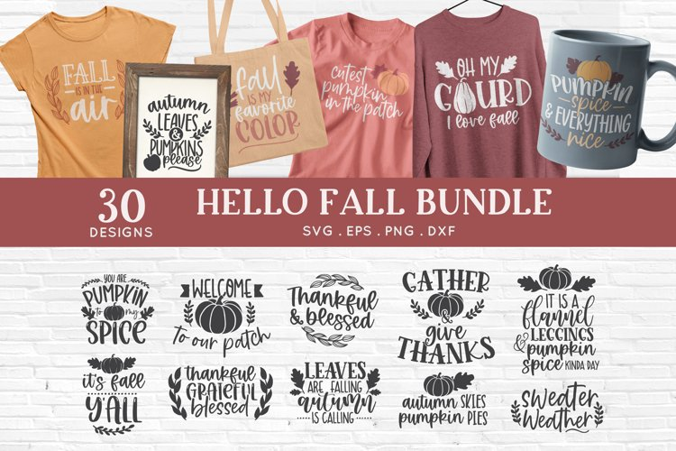 Hello Fall svg bundle - thanksgiving svg autumn svg png eps example image 1