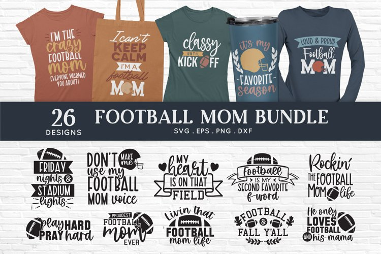 Football mom svg bundle png eps dxf - football mom life svg example image 1