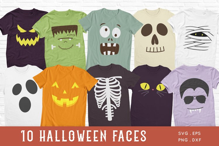 Halloween Faces svg - Kids Halloween Shirt svg png dxf example image 1