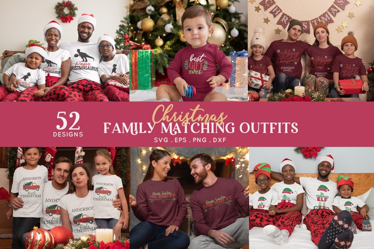 Christmas Matching Outfits Shirts svg bundle dxf png eps