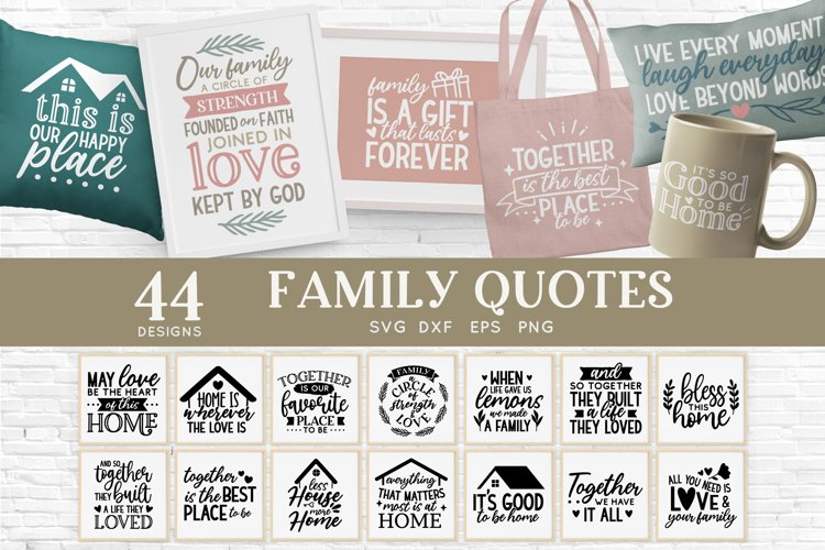 Family Quotes Farmhouse Family Sign svg bundle dxf png eps example image 1