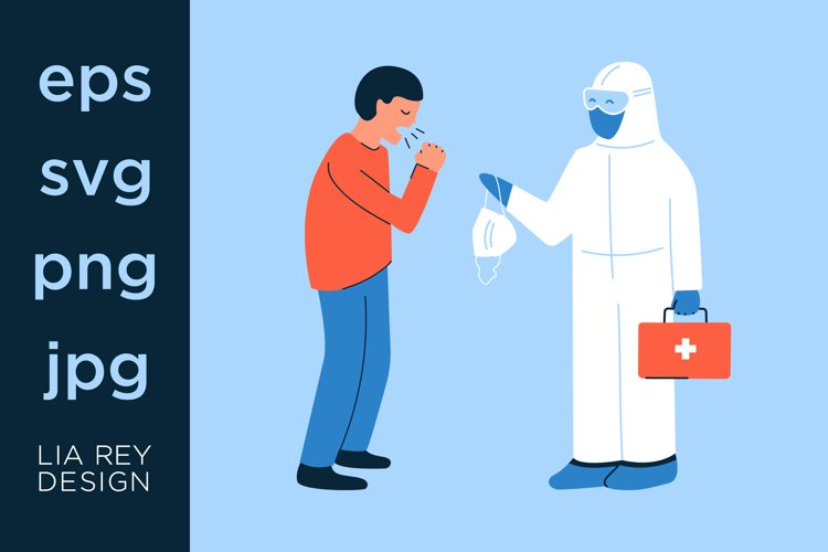 Healthcare and nursing. Doctor vector graphics illustration