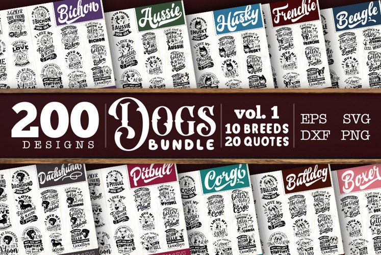 Dogs SVG Big Bundle 200 designs vol 1
