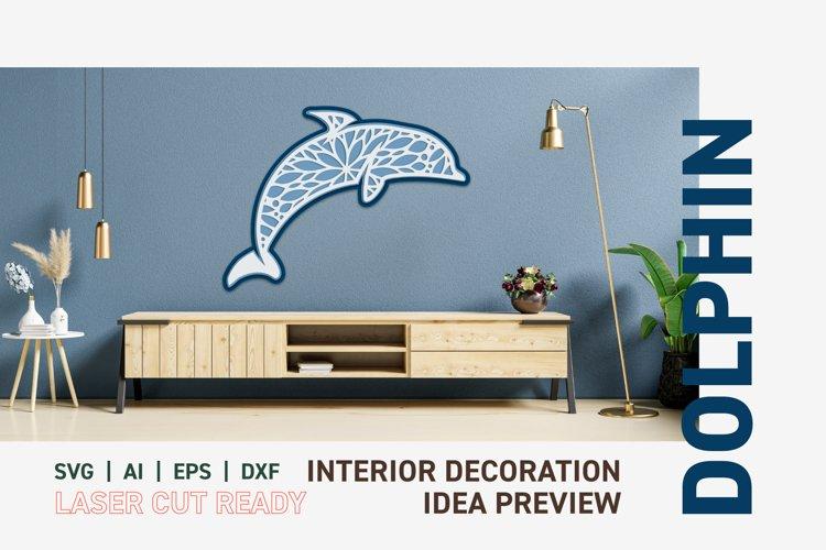 3D Wall Decor Dolphin Laser Cut Ready