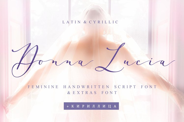 Donna Lucia feminine font Cyrillic Extras & Logo example image 1