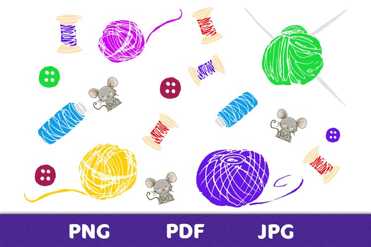 Elements of a knitting set with mice for creative design example image 1