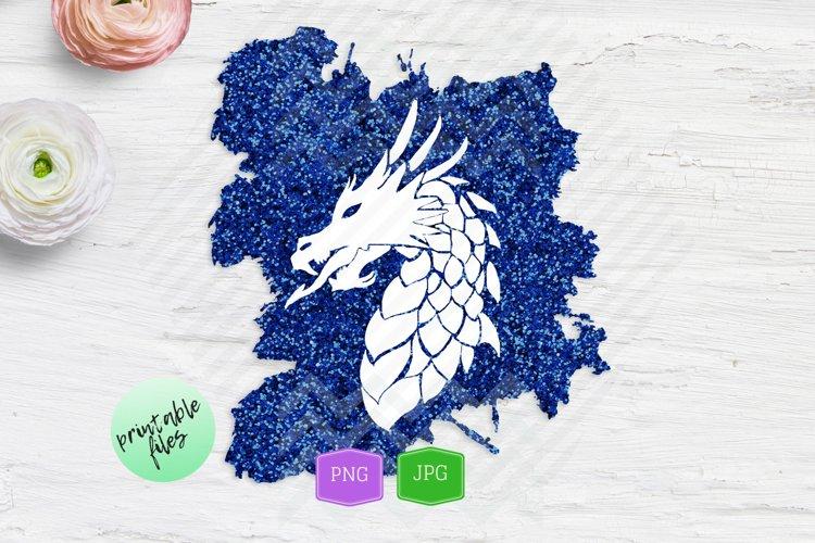 Sublimation design Fantasy Blue Dragon Silhouette