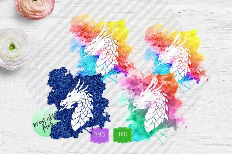 Sublimation design bundle Fantasy Blue Dragon Silhouette
