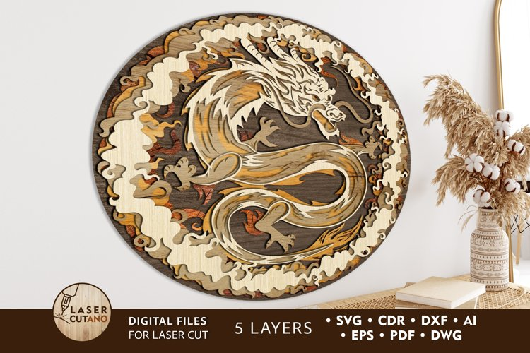 CHINESE DRAGON Multilayer Cut Files for Cut Wood or Cricut
