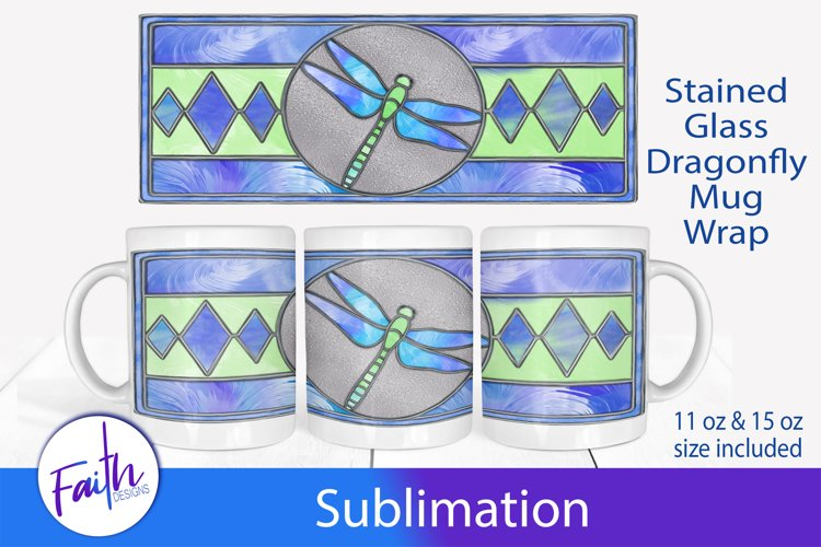Mug Wrap Dragonfly Stained Glass Sublimation example image 1