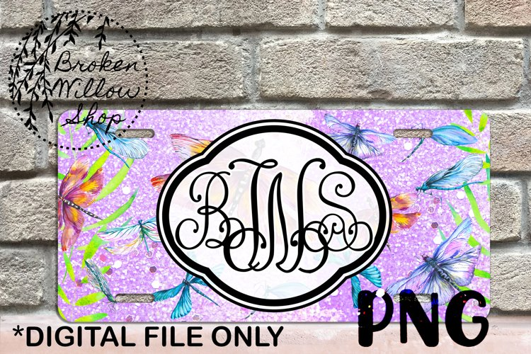 Dragonfly License Plate Sublimation PNG File Instant Downloa