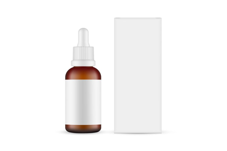 Plastic Frosted Amber Dropper Bottle Mockup with Paper Box example image 1