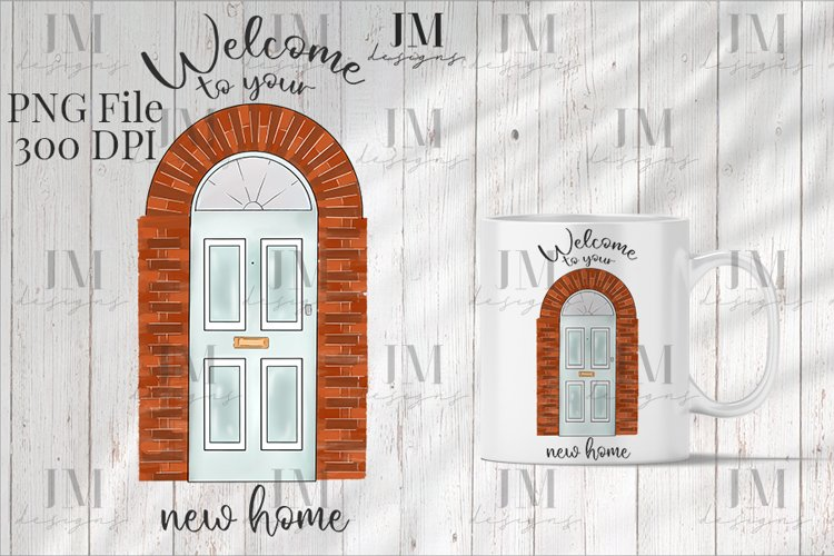 Welcome To Your New Home Front Door Illustration Design