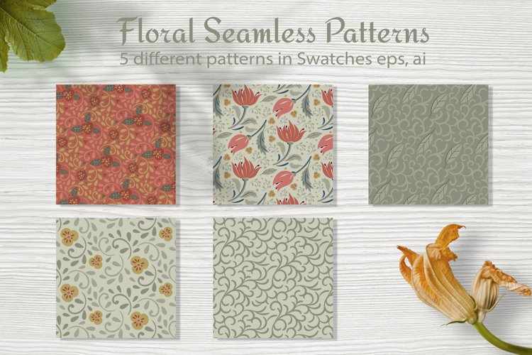 Floral seamless pattern. Swatches in eps 10, ai
