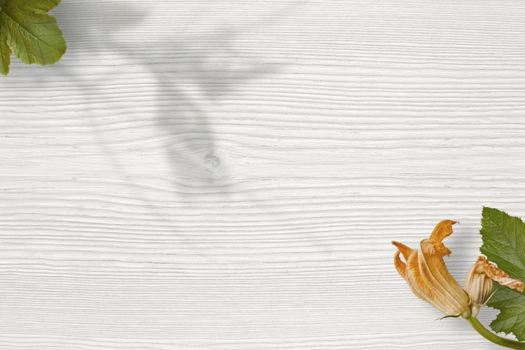 Wood background mockup with trendy shadow and zucchini plant