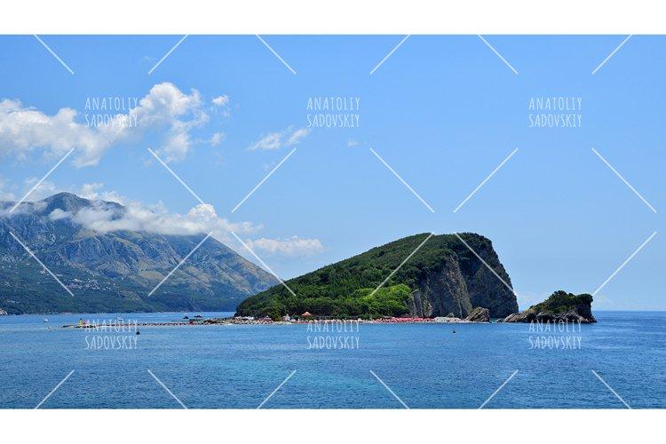 Panoramic view on island of St. Nicholas near Budva example image 1