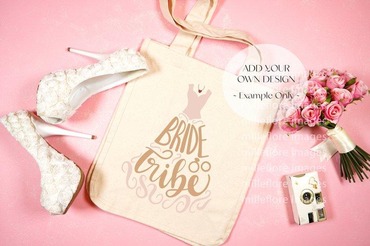 Wedding Bridal Tote Bag Flatlay SVG Craft Mockup Photo Pink