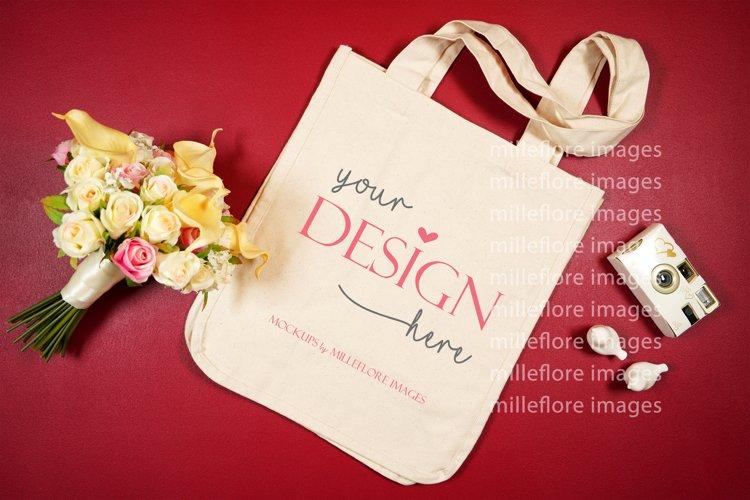 Wedding Bridal Tote Bag Flatlay SVG Craft Mockup Photo Red example image 1