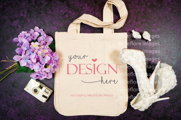Wedding Bridal Tote Flatlay SVG Craft Mockup Photo Purple example image 1