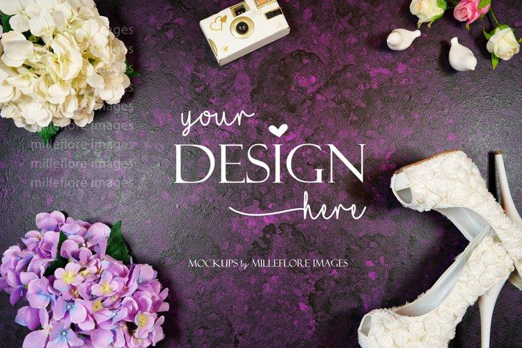 Wedding Framed Border Background Flatlay Styled Photo Purple
