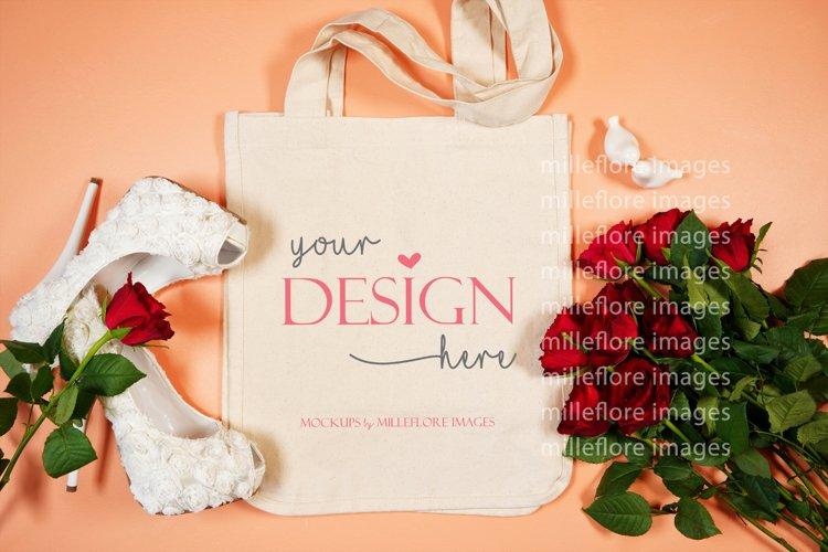 Wedding Bridal Tote Bag Flatlay SVG Craft Mockup Photo Coral