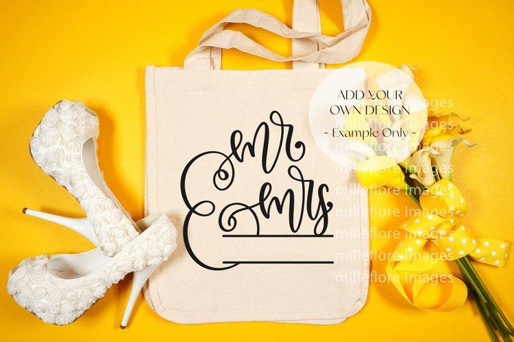 Wedding Tote Bag Flatlay SVG Craft Mockup Photo Yellow