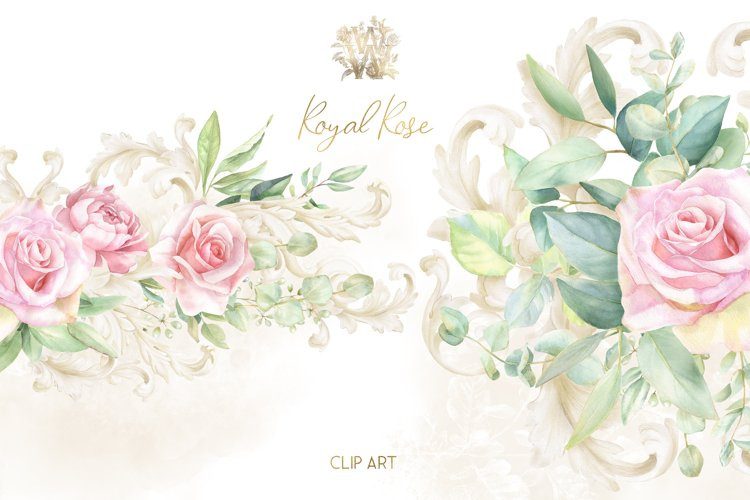 Watercolor wedding border clipart, dusty pink rose bouquets