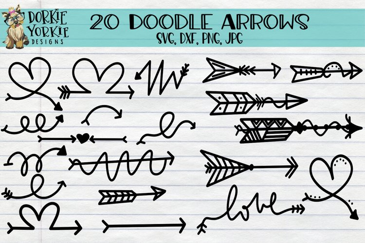 20 Arrows Doodle Hand drawn, clipart, heart love, tribal SVG