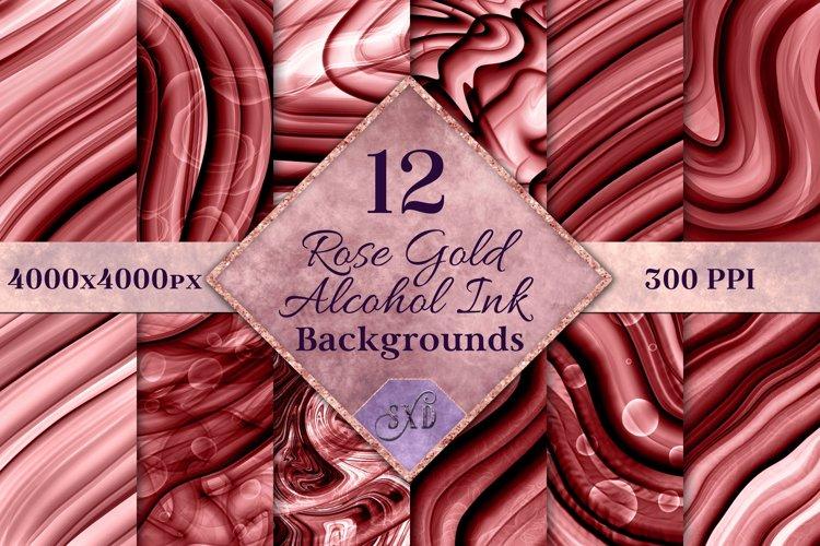 Rose Gold Alcohol Ink Backgrounds - 12 Image Set
