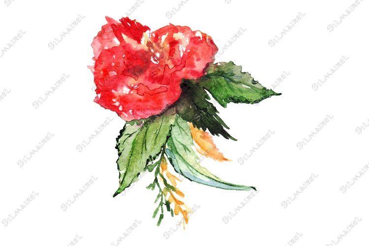 Watercolor flower floral boutonniere set isolated art example image 1