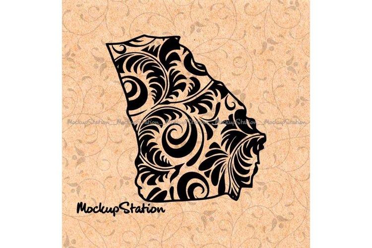 Georgia State png, Floral Mandala Decor SVG Cut File example image 1
