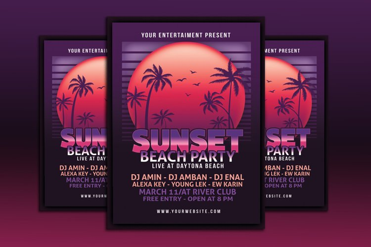 Sunset Beach Party Flyer example image 1
