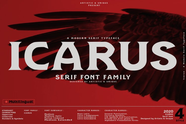 Icarus - Serif Font Family example image 1