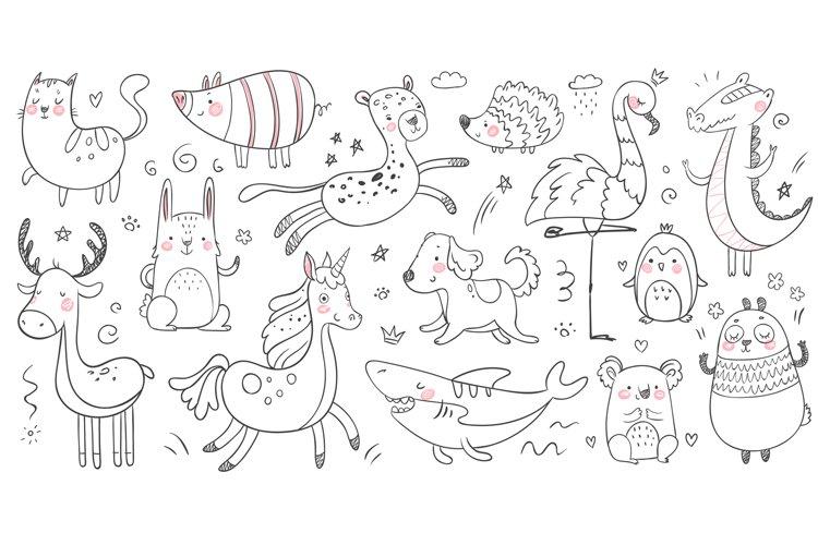 Doodle animals. Sketch animal, hand drawn decoration panda a example image 1