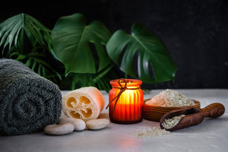 Composition of various objects used for spa treatments. example image 1