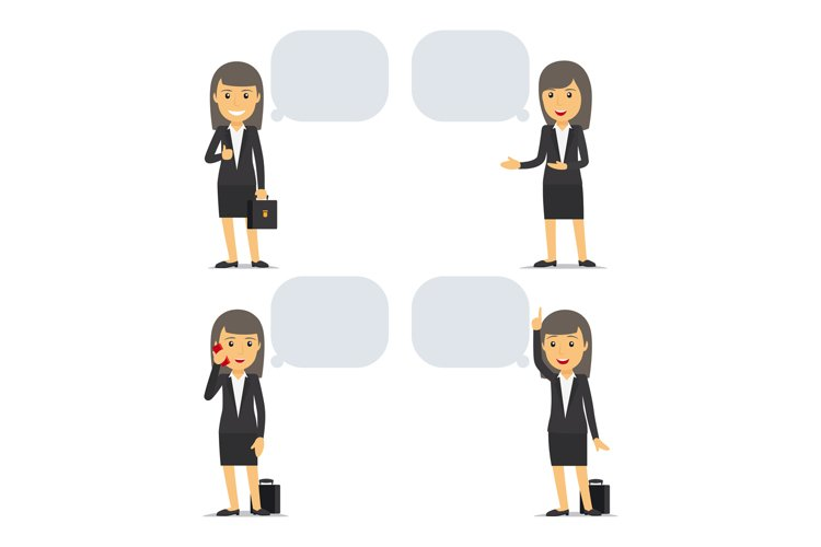 Business woman with speech bubbles example image 1