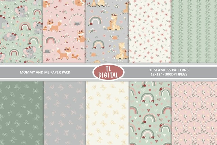 Mommy and Me Floral Animal Paper Pack - 10 Seamless Patterns