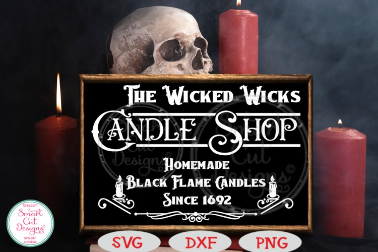 The Wicked Wicks Candle Shop SVG, Halloween SVG, Sign SVG example image 1