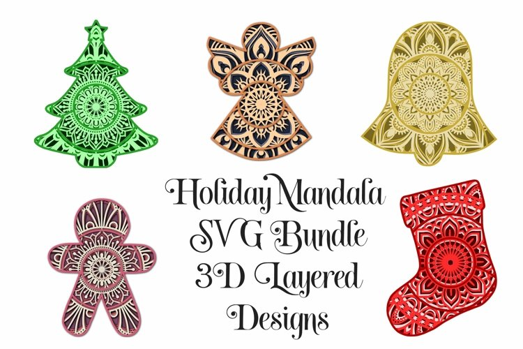 Christmas Mandala SVG Bundle - 3D Layered Mandalas example image 1