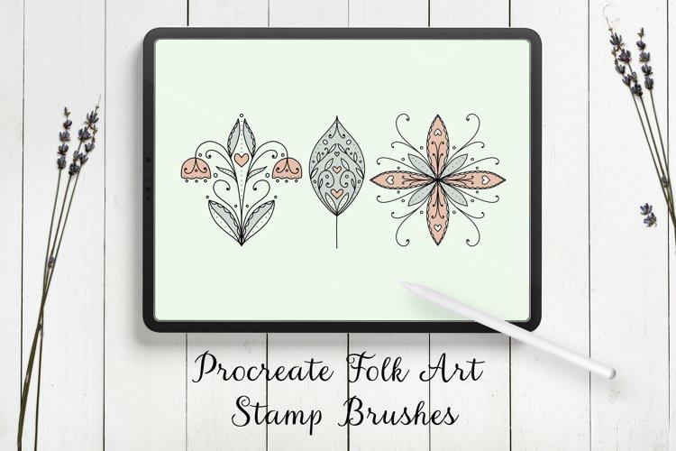 Modern Folk Art Flowers Procreate Stamp Brushes example image 1