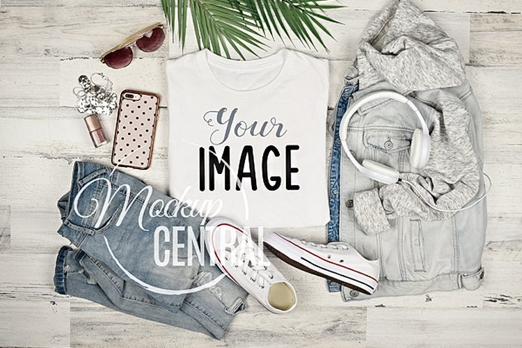 Women's Blank White T-Shirt Styled Apparel Shirt Mockup JPG example image 1