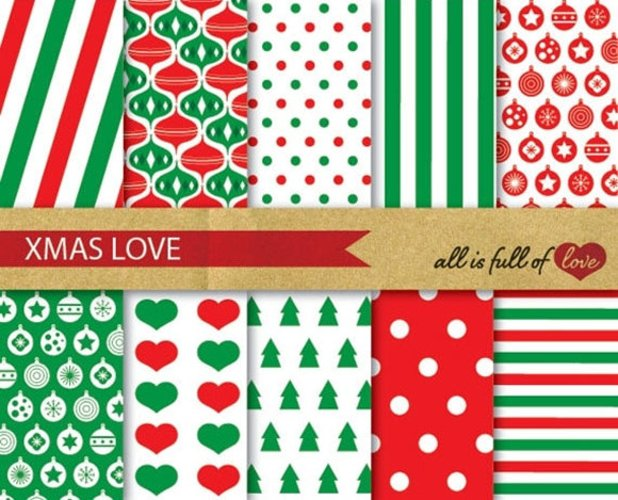 Red Green Xmas Digital Paper Pack Christmas Background Patterns example image 1