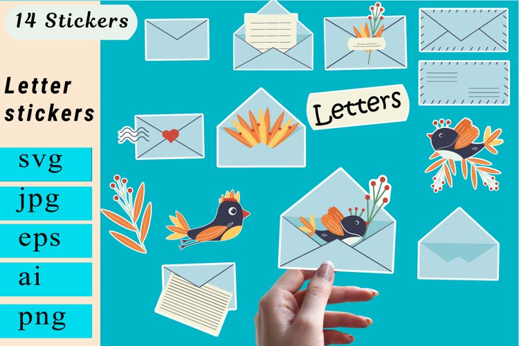 Stickers letter png. Mail stickers. Planner Stickers.