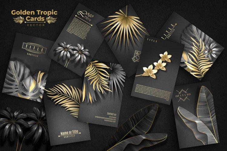 Golden Tropic Cards. Vector.