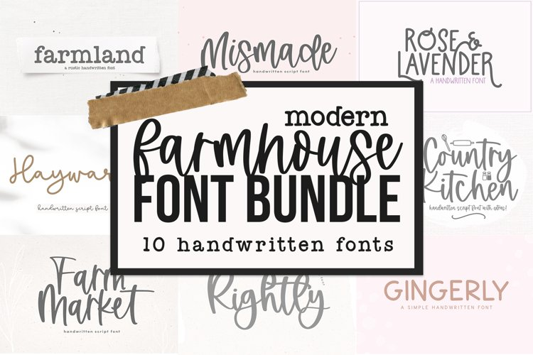 Modern Farmhouse Font Bundle - Fonts for Crafters