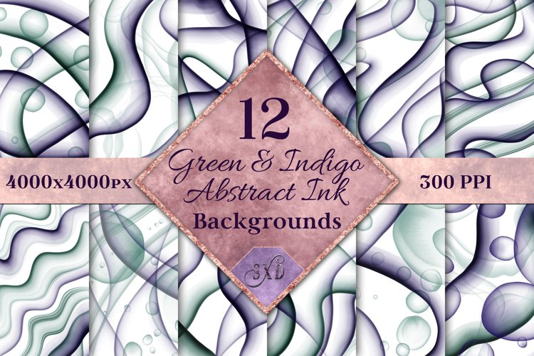 Green and Indigo Abstract Ink Backgrounds - 12 Images example image 1