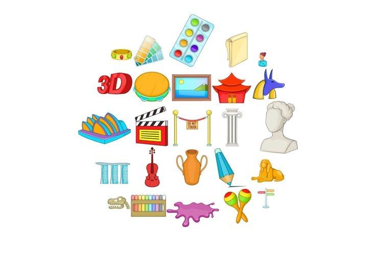 Arts icons set, cartoon style example image 1