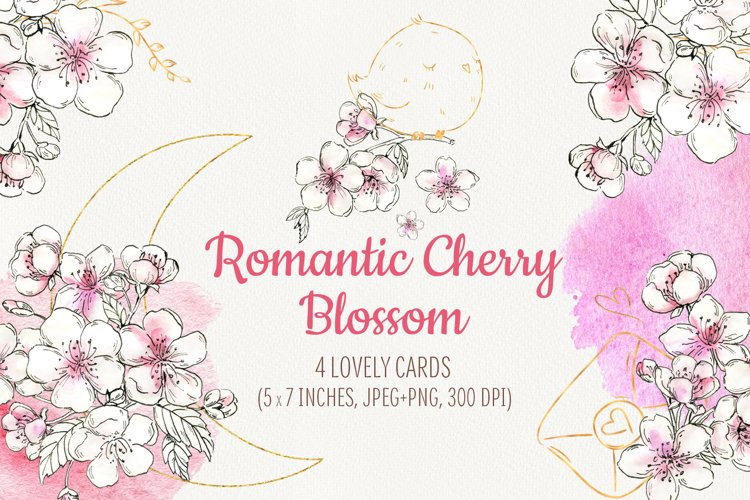Romantic Cherry Blossom. Cute wedding cards example image 1