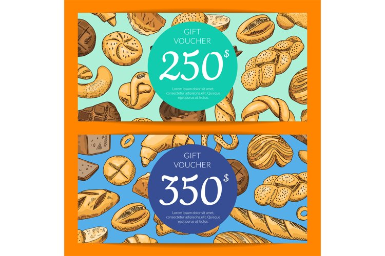 Vector card with hand drawn bakery example image 1