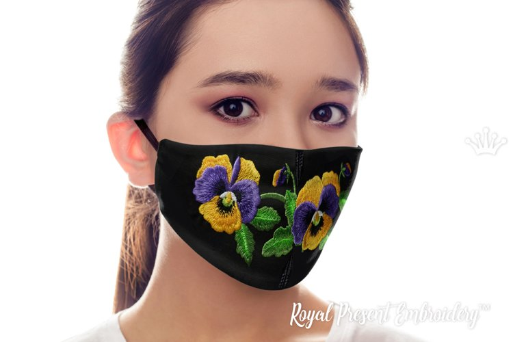 ITH Face mask Pansies Machine Embroidery Design